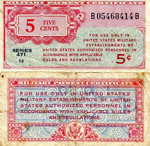 5 Cents  F Banknote