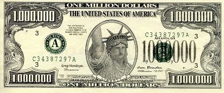 1 Million Dollars  aUNC  Banknote
