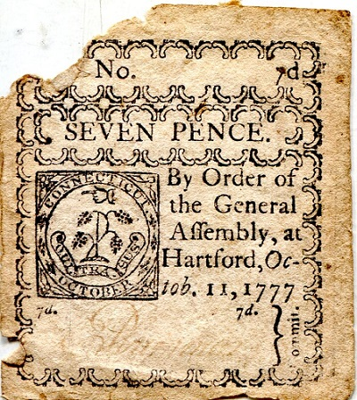 7 Pence  G/Poor (edges missing tears into no Banknote
