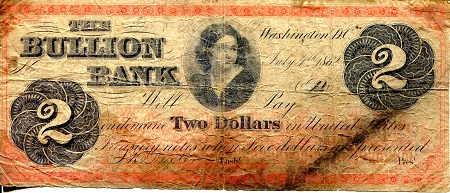 2 Dollars  G/Poor (Heavy folds - center holes) Banknote