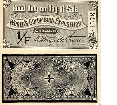 World Columbian Expo in Chicago   XF/VF (see scan) Banknote