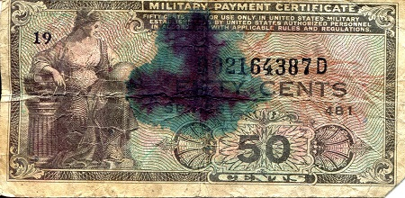 50 Cents  G (See Scan) - Marked Banknote