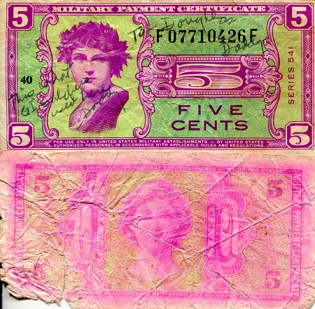 5 Cents  Poor (see large scan) Written on/di Banknote