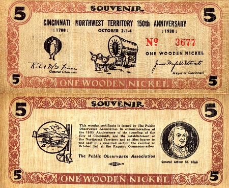 1 Wooden Nickel  See Scan (Ungraded) Banknote