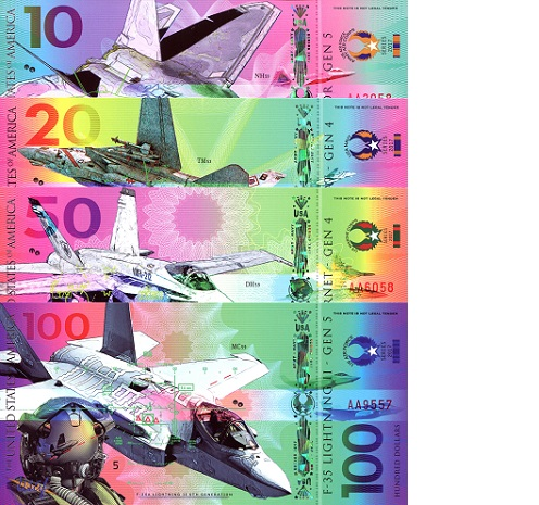 10 - 100 Dollars  UNC 4 Banknote Set