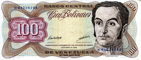 100 Bolivares  XF/VF (see scan) Banknote