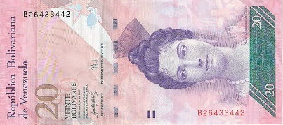 20 Bolivares  aUNC/XF Banknote