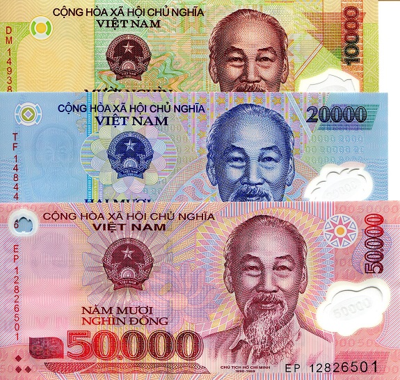 10,000 to 50,000 Dong  UNC 3 Banknote Set
