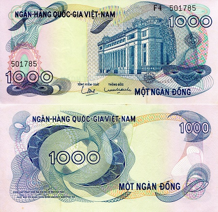 1,000 Dong  XF (minor foxing/corner issues) Banknote
