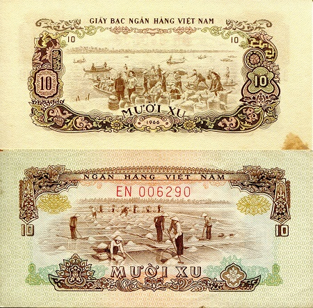 10 Xu  XF/VF (varies sizes of foxing/marks Banknote