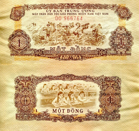 1 Dong  XF/VF (see large scan - crinkled) Banknote