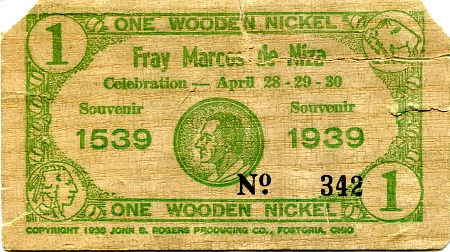 1 Wooden nickel is damaged (see scan)