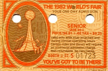 World's Fair Senior Admittance Ticket   Banknote