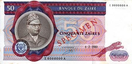 50 Zaires  VF (see scan) Foxing Banknote