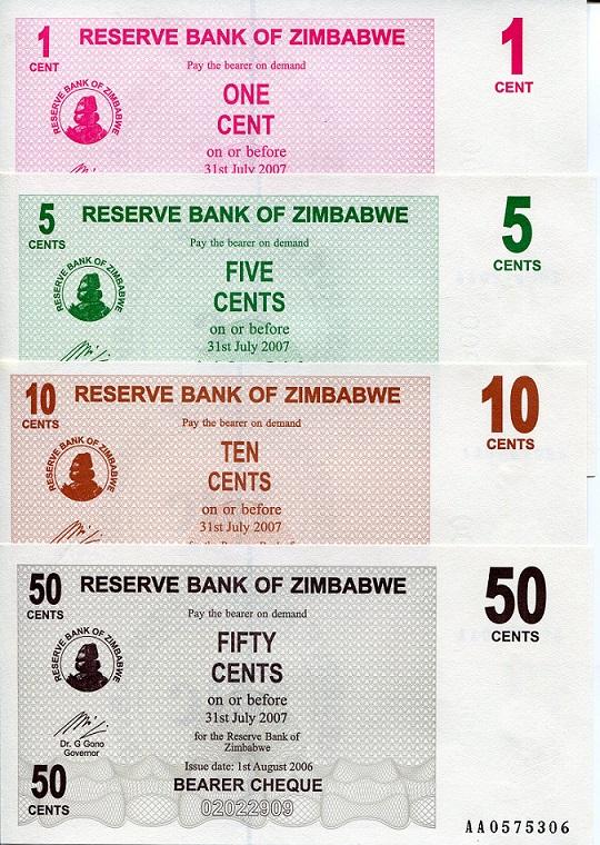 1 - 50 Cents  aUNC 4 Banknote Set