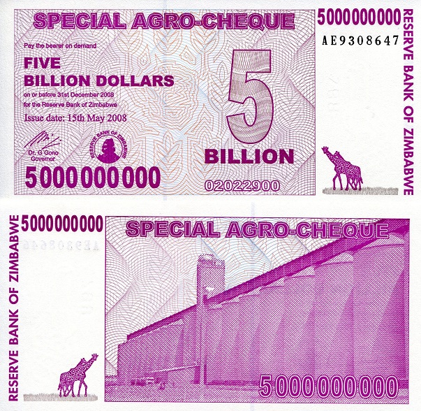5,000,000,000 (5 Billion) Dollars  UNC Banknote