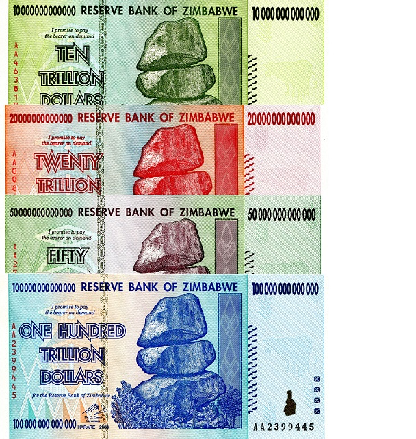 10, 20, 50, & 100 Trillion  UNC 4 Banknote Set
