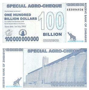 100 Billion Dollars  UNC Banknote