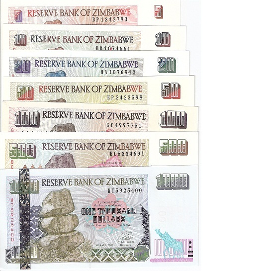 5-1000  Dollars  UNC 7 Banknote Set